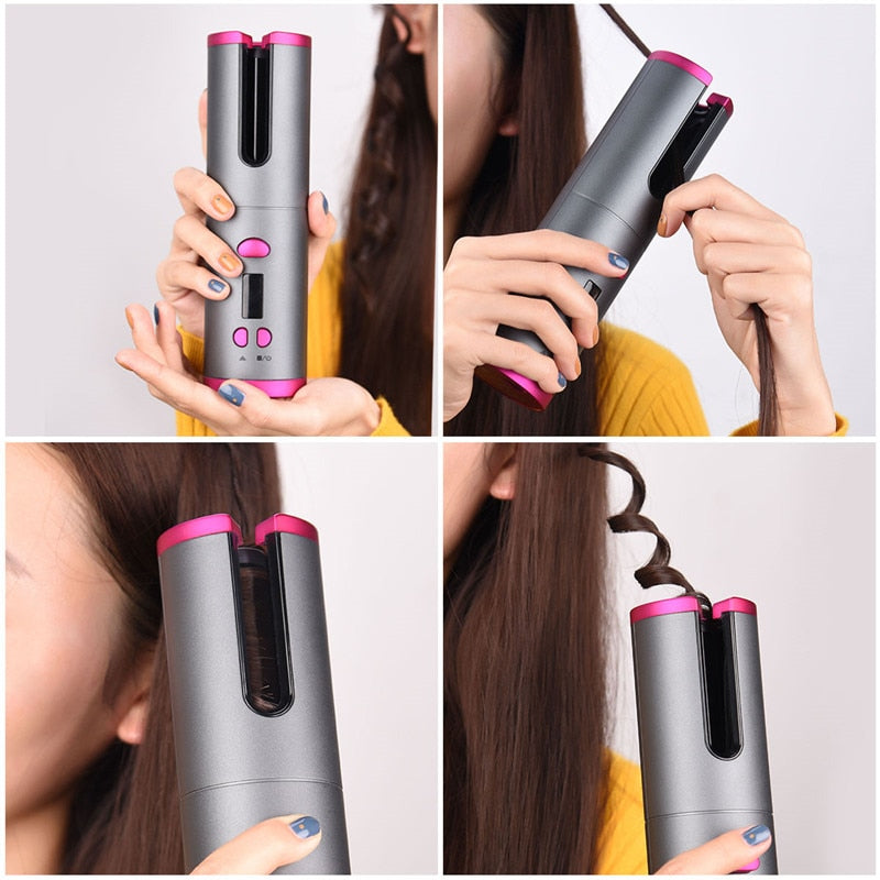 Cordless Auto Rotating Ceramic Hair Curler USB Rechargeable Curling Iron