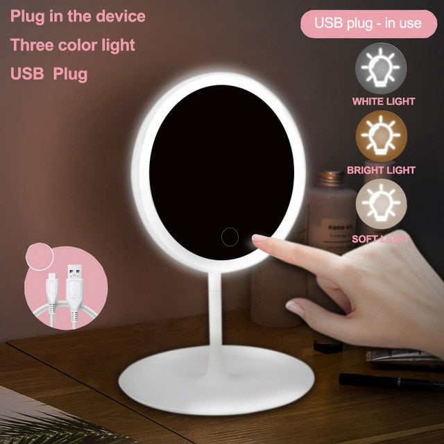 Makeup mirror with led standing touch screen vanity adjustable light desk cosmetic mirrors