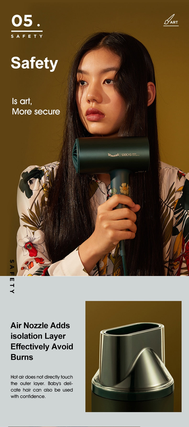 H5 Green Anion Hair Dryer  1800W Professional Blow Dryer Aluminum Alloy Powerful Electric Dryer