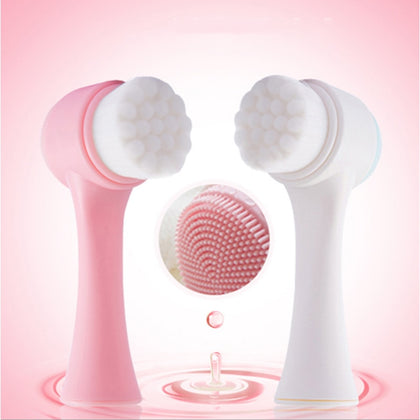 Double Side Silicone Face Cleanser Brush Face Cleaning Massage Exfoliating Blackhead Face Brush Scrub