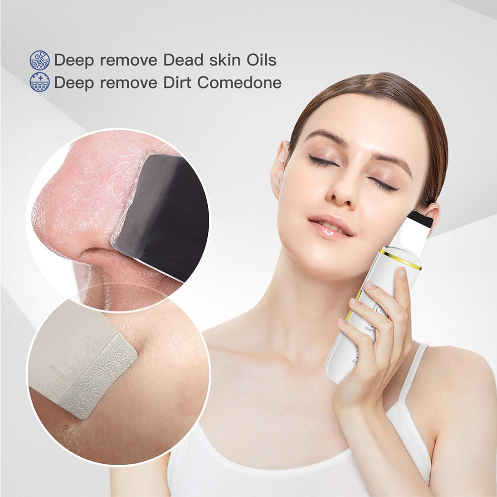 Ultrasonic Skin Scrubber Facial Cleaner Ion Acne Blackhead Remover Peeling Shovel Cleaner Facial Massager Face Lift Machine