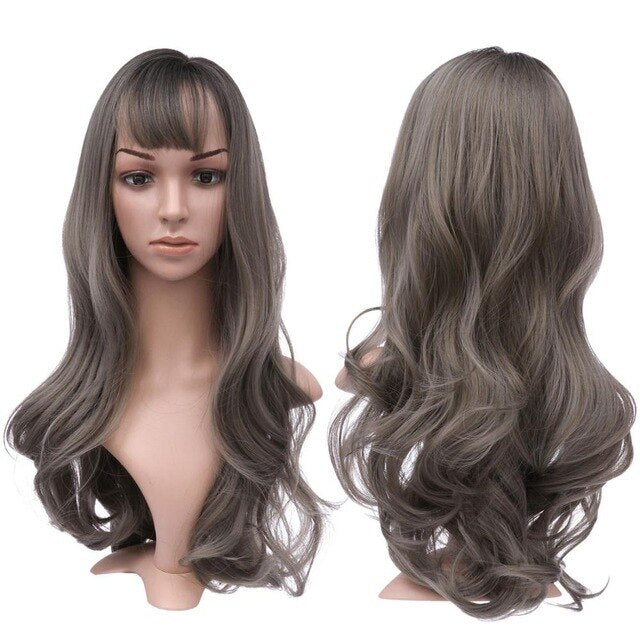 Long Wavy With Air Bangs Silky Full Heat Resistant Synthetic Wig for Women  26 inch Hair Replacement Wig