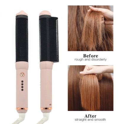 Electric Hair Straightener Brush Professional Hot Comb Straightening Fast Heating Ceramic Curling Irons