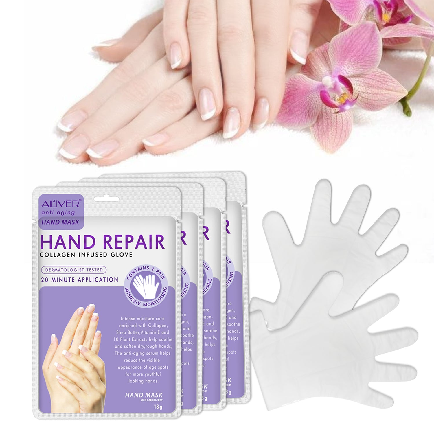 No added Mild Natural ingredients Soft Hand Mask Moisturizing Silk Skiing Improves Dry Exfoliating Hand Cream Skin Care