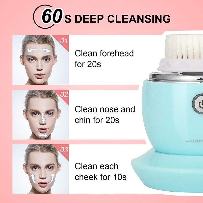 Facial Cleansing Brush Sonic Electric Face Cleanser Waterproof Soft Deep Pore Massage 3 Heads 3 Modes Wireless Charging