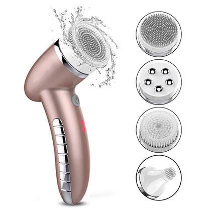 4 In 1 Wash Facial Cleansing Brush Sonic Vibration Face Cleaner Electric Waterproof Massage with 4 Heads Face Cleaning Apparatus