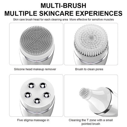 4 In 1 Wash Facial Cleansing Brush Sonic Vibration Face Cleaner
