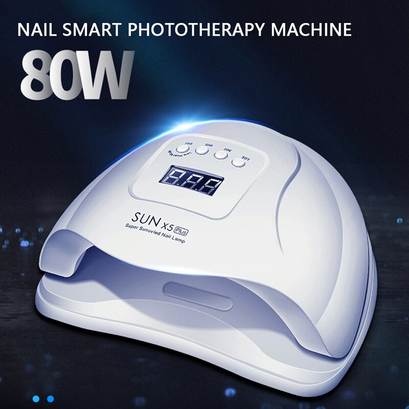 80W Nail Polish Curing Lamp for Fingernail with Sensor Manicure Sun Light Lamp 10s/30s/60s/99s Timer Setting and LCD Display