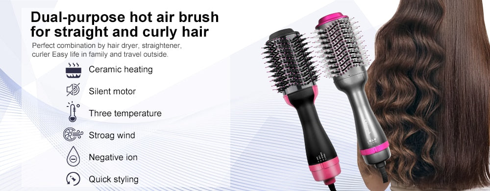 One Step Hair Blow Dryer Brush Negative Ions Hair Salon Volumizer Straightener Curler Comb