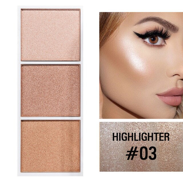 Facial Highlighter Palette Blush Makeup Face Eye Shimmer Contour Powder Cosmetic Bronzer