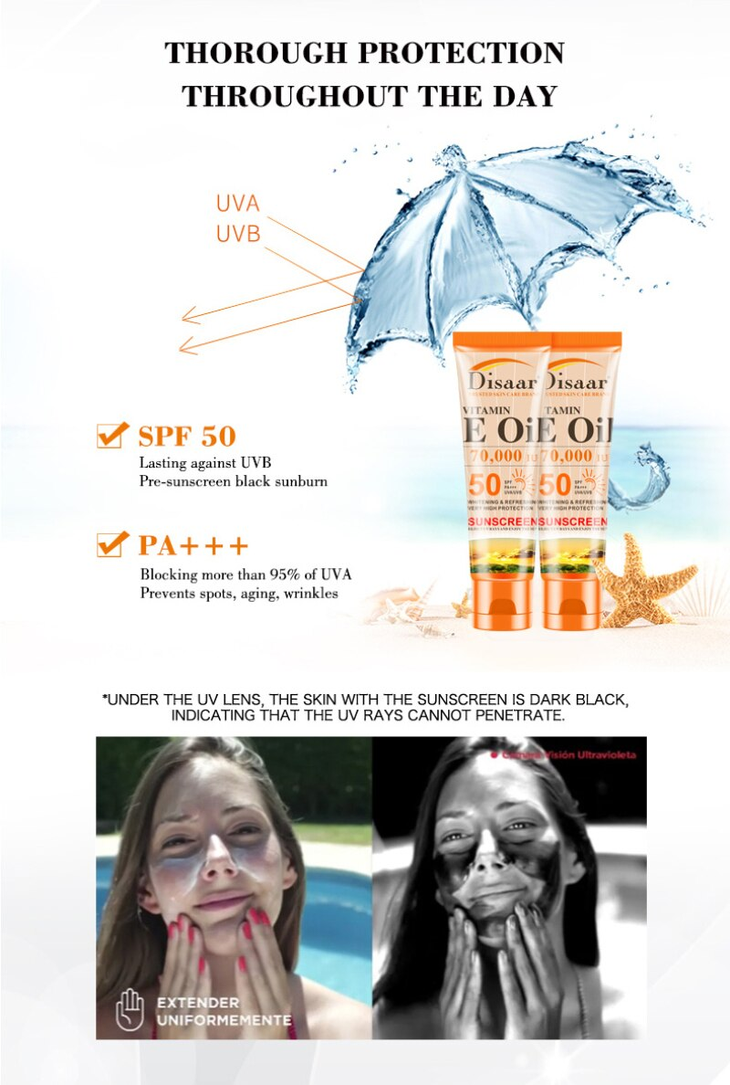 SPF 50 Face Skin Facial Body Sunscreen Whitening Cream Sunblock Skin Protective Cream Anti-Aging Oil-control Moisturizing
