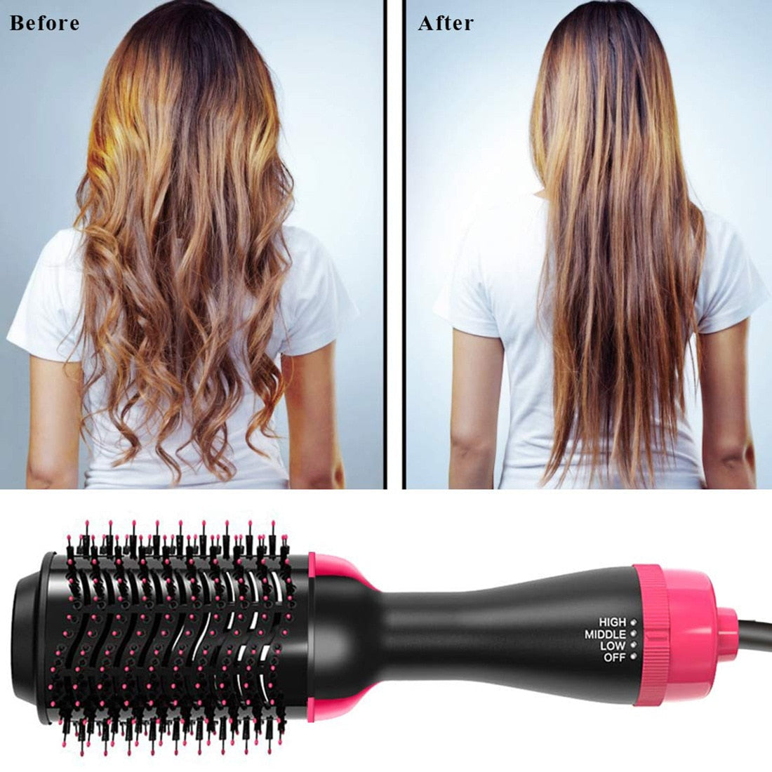 One Step Hair Dryer and Volumizer 2 in 1 Hot Air Brush Professional Blow Dryer Comb Curling Iron Hair Straightener Brush