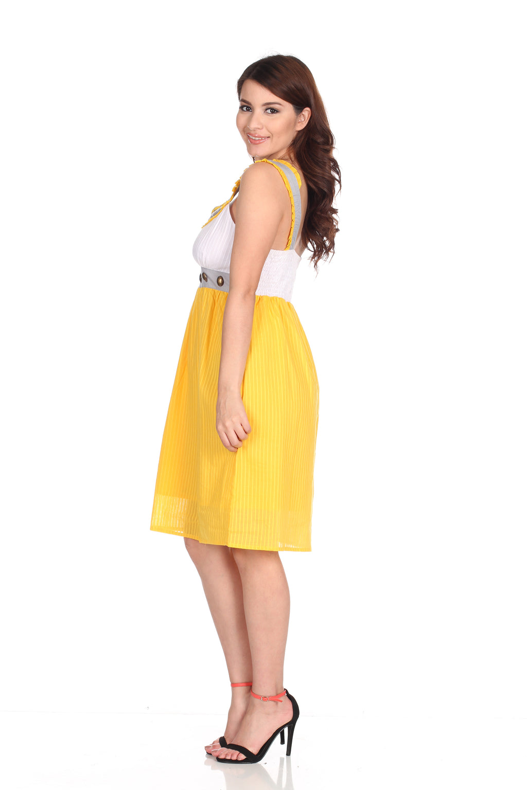 Yellow Dress Knee Length
