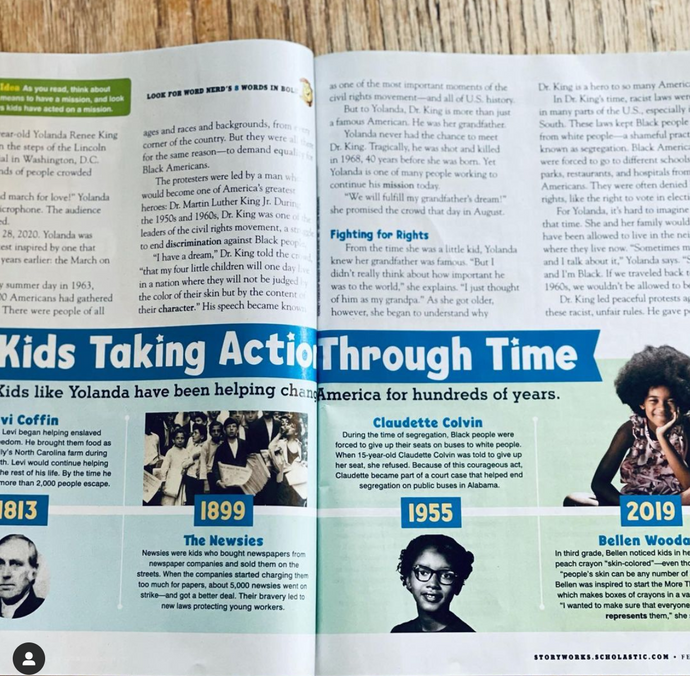 Kids Taking Action Through Time--and I'm one! Thanks Storyworks & Scholastic Mags!