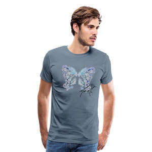 """Send Me A Butterfly"" T-Shirt - steel blue"