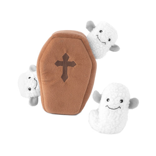 Zippy Paws Halloween Burrow Interactive Dog Toy - Coffin with Ghosts