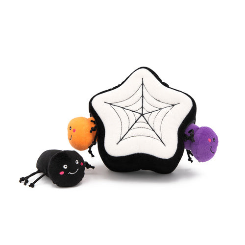 Zippy Paws Halloween Burrow - Spiders in a Web