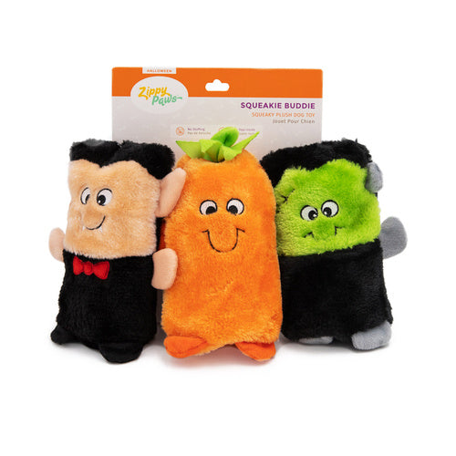 Zippy Paws Halloween Colossal Squeaker Buddie Dog Toy No Stuffing - 3 Pack