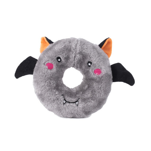 Zippy Paws Halloween Donutz Buddies Squeaker Dog Toy - Bat