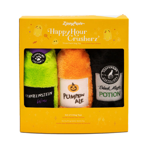 Zippy Paws Halloween Happy Hour Crusherz Squeaker Bottle Dog Toy 3 Pack
