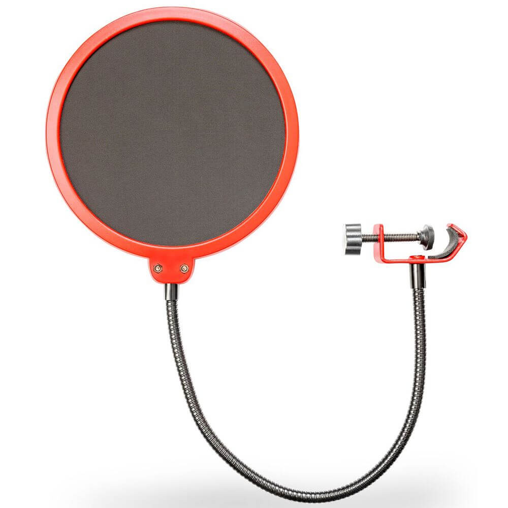 Deco Gear Universal Double Layer Pop Filter Microphone Wind Screen with Adjustable Goose Neck Mic Stand Clip (Black with Red Trim)