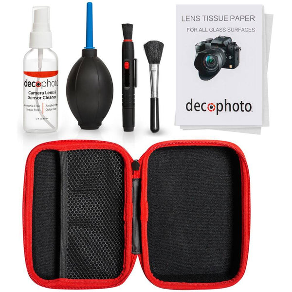 Deco Photo All-in-One Cleaning Kit for DSLR and Mirrorless Cameras - Includes Carry Case, Camera and Sensor Cleaning Spray & Swabs, Lens Brush, Sensor Brush, and Dust Blower