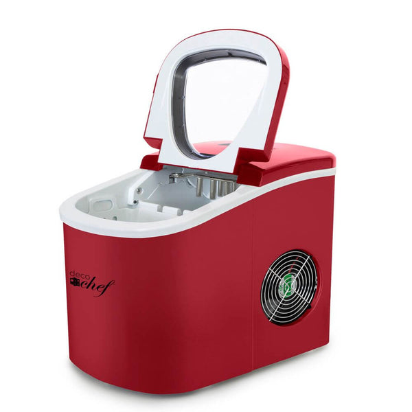 Deco Gear Rapid Electric Party Ice Maker - Compact Top Load 26 Lbs. Per Day Capacity - Great For Hosting Never Run Out Of Ice Again (Red)