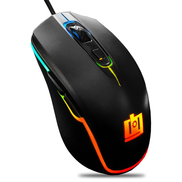 Deco Gear Wired Gaming Mouse | 800-5000 Adjustable DPI | High Precision Optical Mouse | Ergonomic For All Gaming Grips | 11 RGB Backlit Modes | 6 Buttons - DecoGear