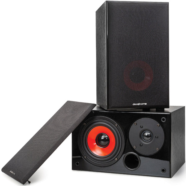 Deco Home DHPAS100 Passive 140W Bookshelf Speaker Set, 5-inch Woofer with Dome Tweeter, Modern Dark Wood Finish with Red Woofer Cone - DecoGear