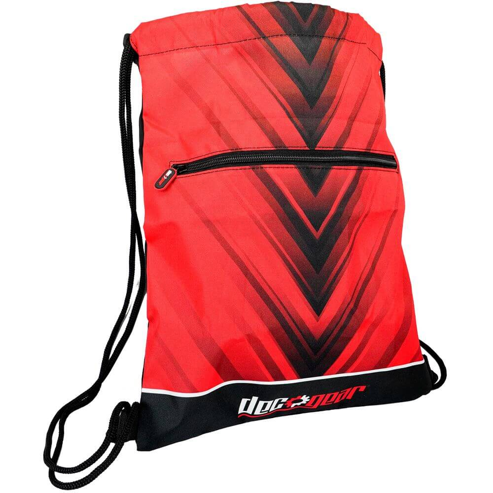 Deco Gear Unisex Drawstring Bag, Cinching Tote, Backpack, Sling, or Handbag for Daily Use, Gym, Travel, and Outdoor Activities, Red and Black