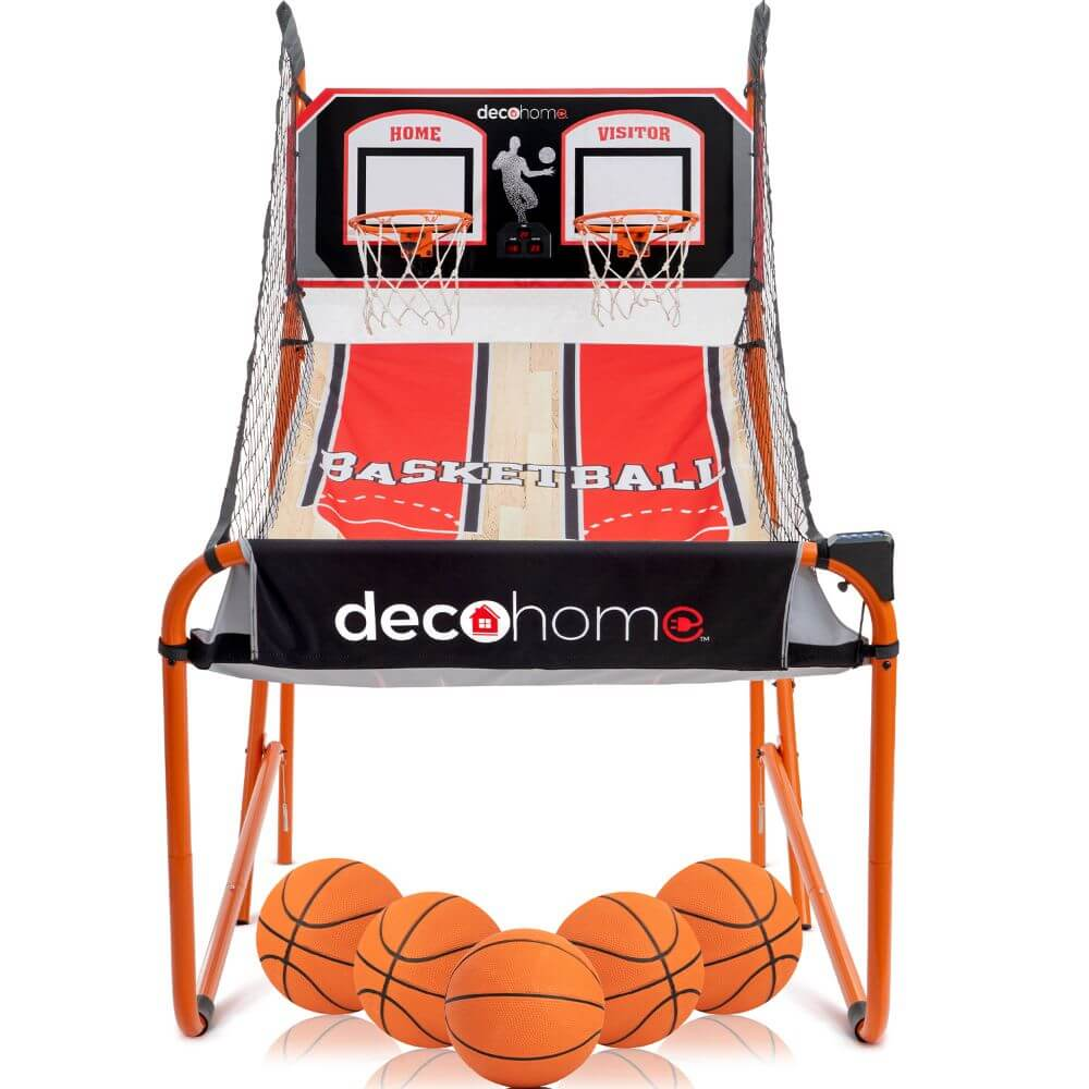 Deco Home Arcade Basketball Game with Dual Rim Backboard, Includes Electronic Tracking LED Scoreboard with 8 Game Modes for 1-4 Players, 5 Game Balls, Air Pump, Folding Assembly for Easy Storage
