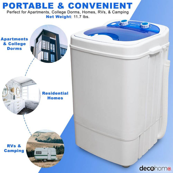 Deco Home Portable Washing Machine for Apartments, Dorms, 8.8 lb Capacity, 250W Power