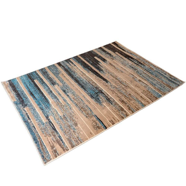 "Deco Home 5.25' x 7.5' Modern Abstract Indoor Area Rug with Non-Slip Backing, Serged Edges, .4"" Pile Height, Soft Polypropylene (Blue/Tan) - DecoGear"