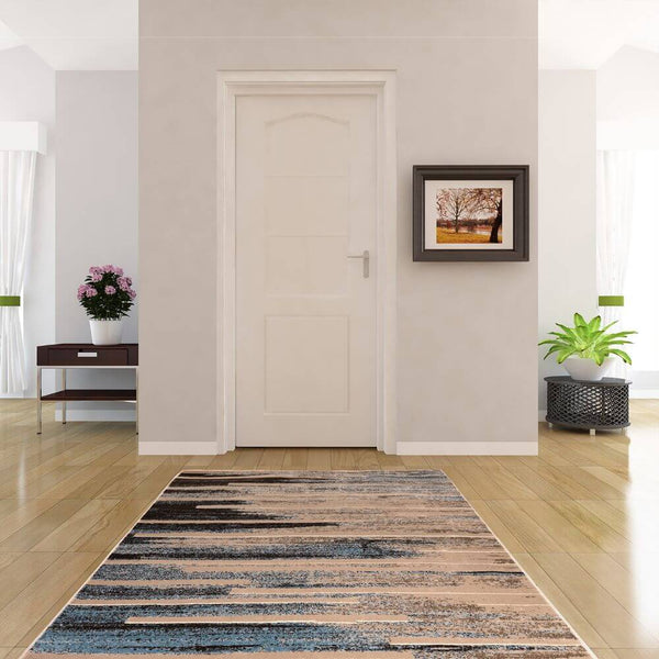 Deco Home 5.25' x 7.5' Modern Abstract Indoor Area Rug with Non-Slip Backing, Serged Edges, .4