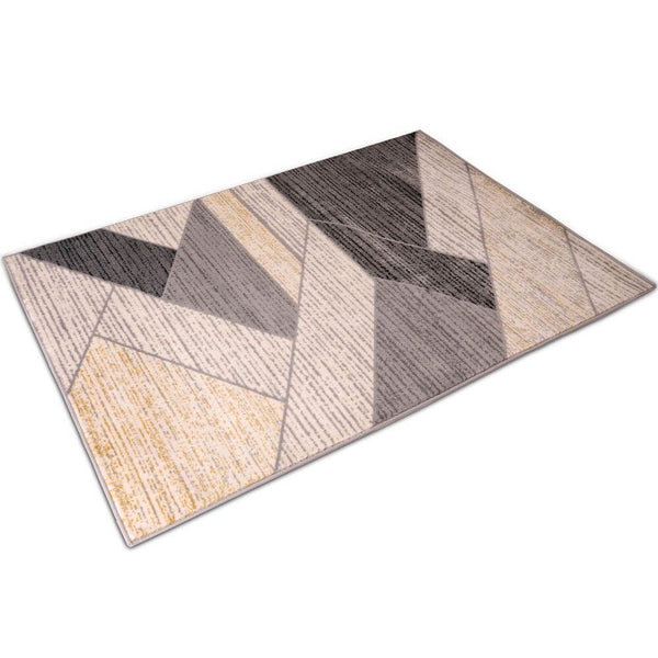 "Deco Home 5.25' x 7.5' Modern Abstract Indoor Area Rug with Non-Slip Backing, Serged Edges, .4"" Pile Height, Soft Polypropylene (Black/Tan)"
