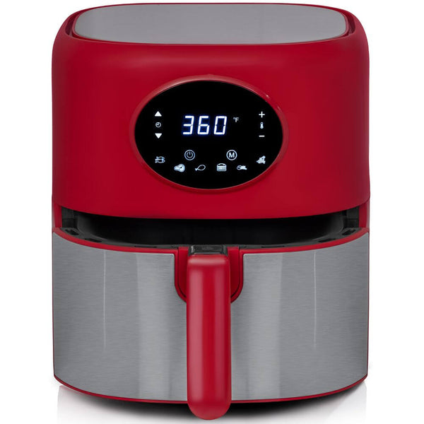 Deco Chef 3.7QT Digital Air Fryer with 6 Cooking Presets, LED Touch Controls, Adjustable Temperature and Time, Detachable Dishwasher Safe Non-Stick Basket, ETL Certified, Red