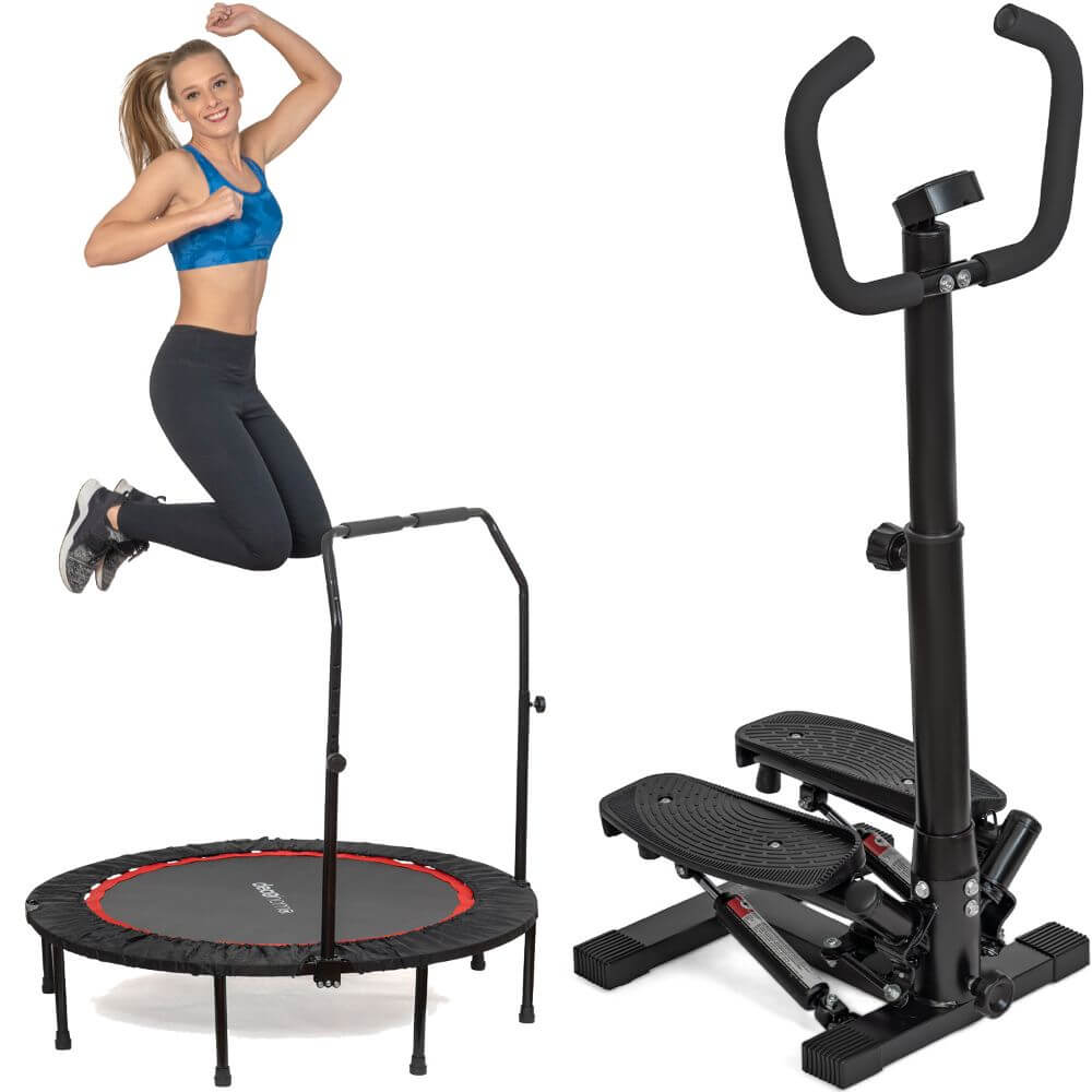 Deco Home Exercise Step Machine w/Adjustable Stability Handle Bars, Non-Slip Pedals, and LCD Tracking Display with 48-inch Indoor/Outdoor Fitness Trampoline, Folding Mini Rebounder, Steel Construction - DecoGear