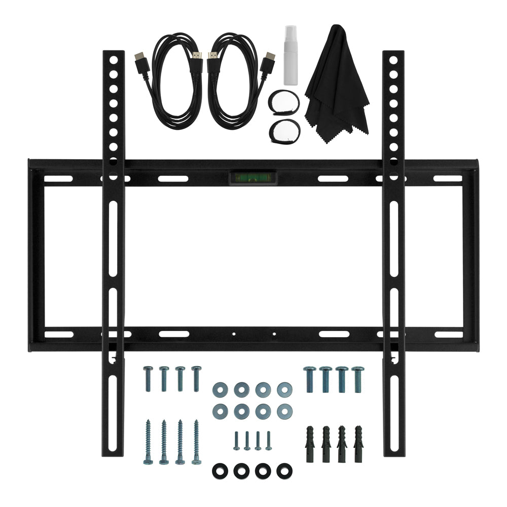 Deco Mount Slim FLAT Wall Mount Bundle for 19 to 45 inch TV's with Built-in Bubble Leveler, 2 HDMI Cables, Screen Cleaning Kit, and More