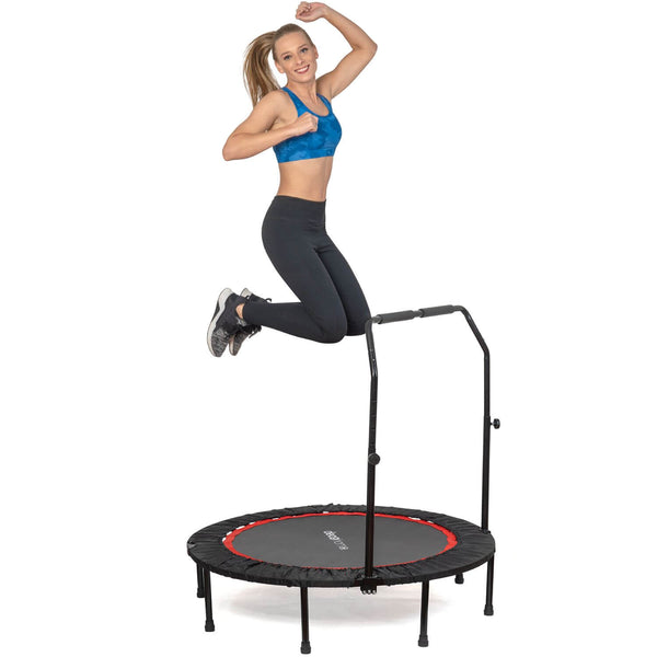 Deco Home 48-inch Indoor/Outdoor Fitness Trampoline, Folding Mini Rebounder with Adjustable Handle Bar, Durable Steel Construction - DecoGear