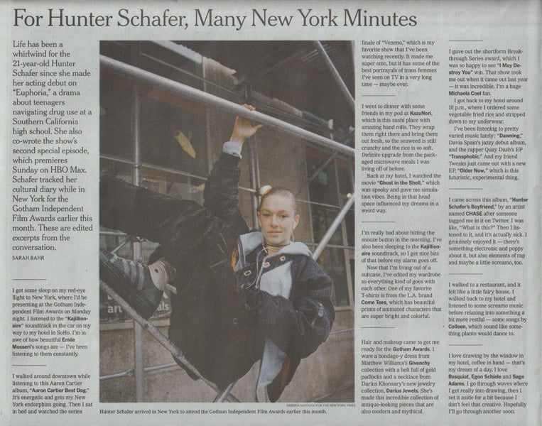 "The New York Times, ""For Hunter Schafer, Many New York Minutes"""