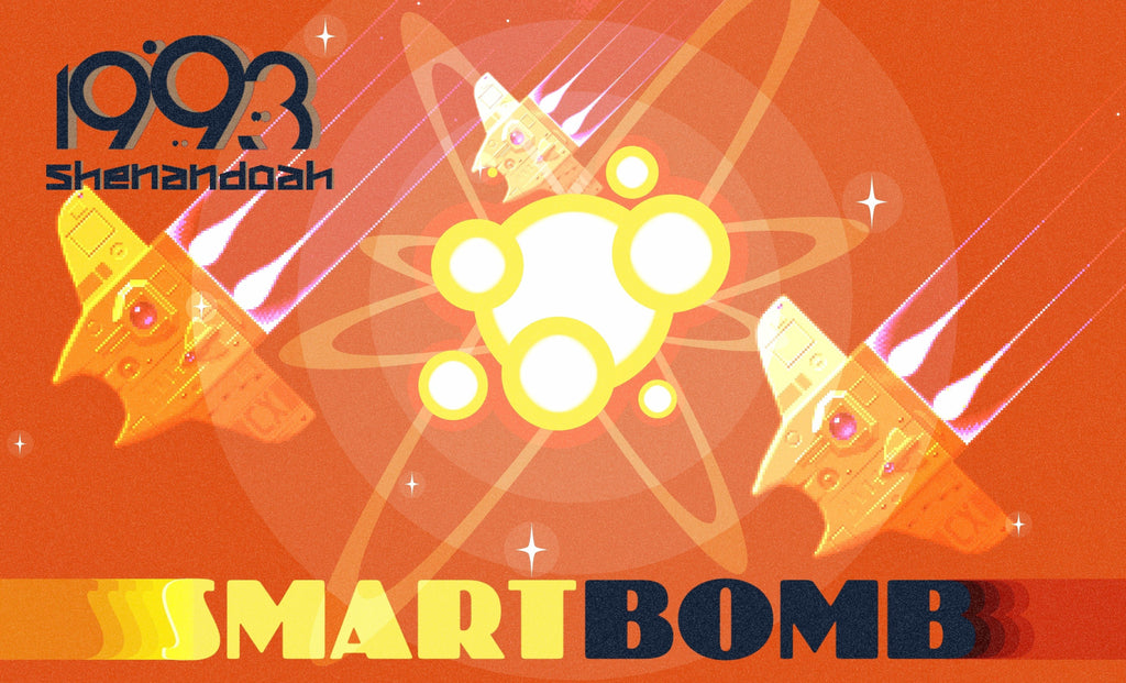 Pixel art poster in organge with spaceships, a big explosion, 1993 Shenandoah logo and big text that says Smart Bomb