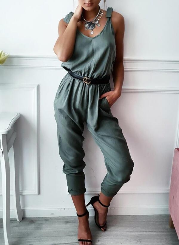 NEW! Solid V-Neck Sleeveless Casual Jumpsuit