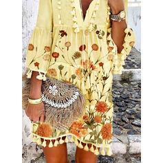 Print/Floral 3/4 Sleeves/Flare Sleeves Shift Above Knee Casual/Elegant Dresses