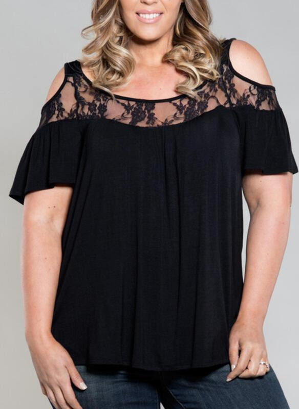 Solid Lace Cold Shoulder Short Sleeves Casual Plus Size Blouses