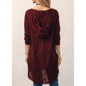 Long-Sleeved T-Shirt Lace Stitching Hooded Sweater  | ZDT