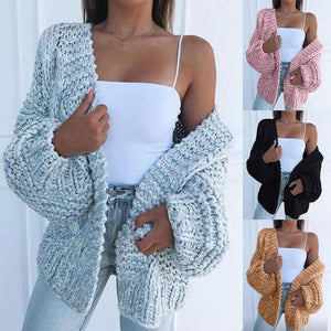 Oversize V-neck Lantern Sleeve Cardigan Sweater  | ZDT