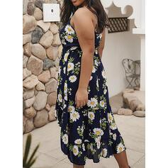 Print/Floral Sleeveless A-line Casual/Vacation/Plus Size Midi Dresses