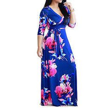 Load image into Gallery viewer, Print/Floral 3/4 Sleeves A-line Casual/Vacation/Plus Size Maxi Dresses