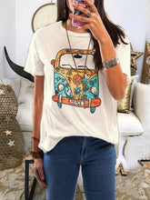 Load image into Gallery viewer, White Short Sleeve Round Neck Cotton Casual Tops