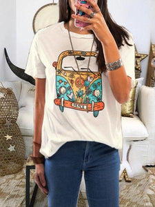 White Short Sleeve Round Neck Cotton Casual Tops